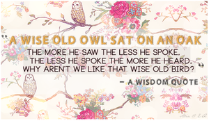 Everyday Quote #6: Wise Old Owl by sugarnote