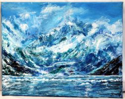 Snow Clad Mountain and Sea by ThisArtToBeYours