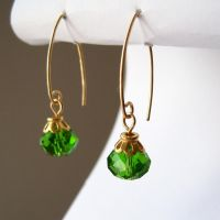 Green and Gold V-Hook Earrings by lulabug