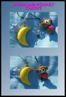 Monkey and Moon Charms by balletvamp