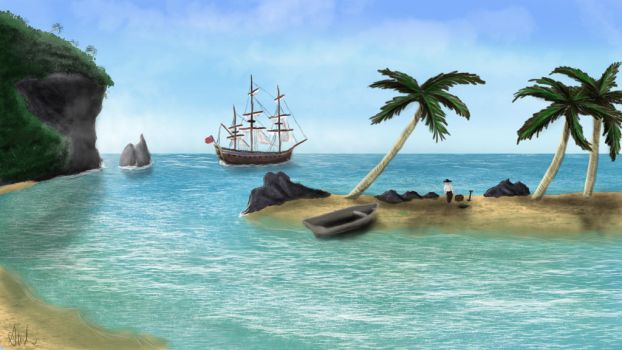 Ship and Beach by SafetyMoose