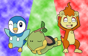Piplup, Chimchar and Turtwig by BlueSmudge