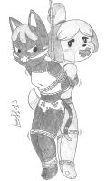 ACNL - Katt and Isabelle by Limpurtikles