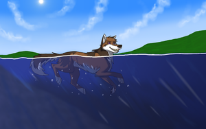 AT with Bruneydog- Summer Swim by Rolfwolf