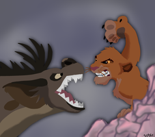 Simba Vs Shenzi Coloring Page Contest by SciFiBeatlesGleek