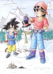 DBZ Son Goku and Pan building a snowman by DaRealRelic
