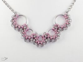 Pink Aluminum Japanese Lace V-Shaped Necklace by ASilverDragonfly