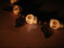 Skulls and Leaves Bracelet by ChristinaRoth333