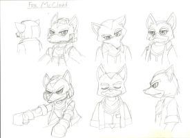 Fox McCloud sketches by peridive78