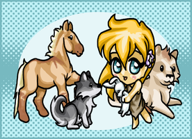 Chibi Ayla and her Zoo by saffron-gryphon