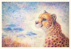 Aquarell Cheetah by DolphyDolphiana