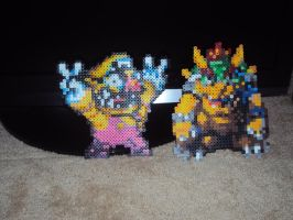 Bowser and Wario Bead Sprites by WickedAwesomeMario81