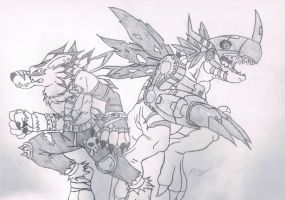 WereGarurumon And MetalGreymon by Brucceeyy