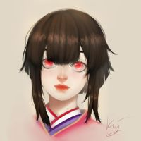 Portrait: Kagura from the onmyouji game by kuurosushii