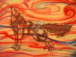Red Wind Howl by chezarawolf