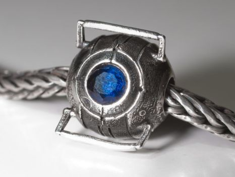 Shapeways Silver Wheatley Bead with Saphire by rvdm88