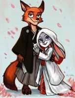 Nick and Judy  - Japanese Wedding by TheLivingShadow