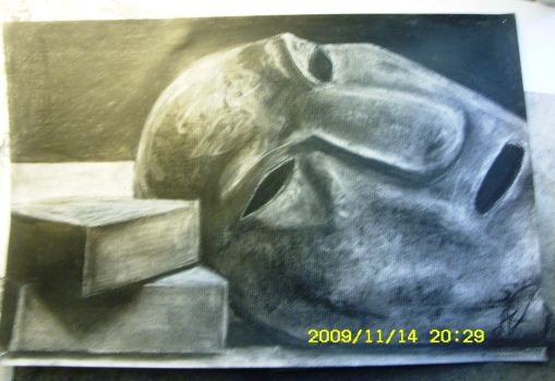 Charcoal Mask Still Life by smwilnau