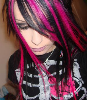 Pink and Black Striped Hair by CandyAcidHair