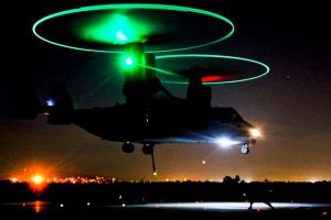 V-22 Osprey Taking off at night by jamestayloranime