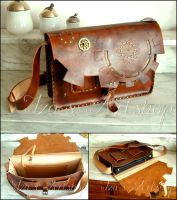 Steampunk Leather Laptop Bag by izasartshop
