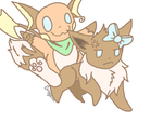 Eevee and Raichu by Pokabuu
