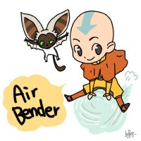 Aang and Momo by kalno