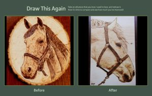 Horse wood burning - before/after by brandojones