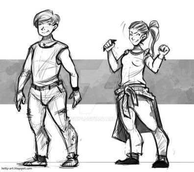 Character concept sketches|comm by shy4
