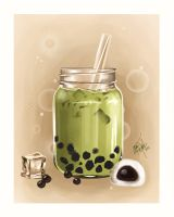 Matcha milk tea by MeganMissfit