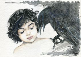The little girl and the crow by tsuyachan