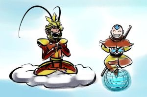Monkey and Aang by IronShrineMaiden