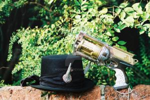 Steampunk Pistol + hat by WoodWose