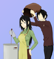 Namie and Izaya color by Hay-Hay-chan