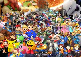 Super Smash Bros WII U and 3DS Characters with DLC by SuperSaiyanCrash