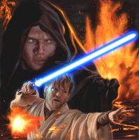 Obi Wan and Anakin on Mustafar by DavidRabbitte