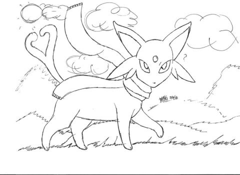 Contest Espeon lineart by animelover101411