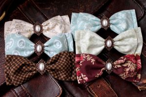 Small Pearl Bow Hairclips by ImperialFiddlesticks