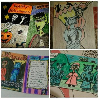 Artist Trading Cards (ATCs): Books and Halloween by Little-Red-Hat