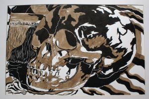 Untitled (Skull and Brush) by BLKandWT