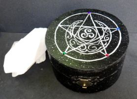 Pentagram and Moon Jewelry Charging Altar Box by Silvareiel
