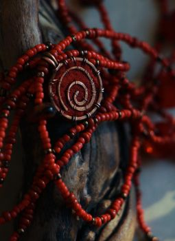 Red - wire wrapped pendant by Altawista