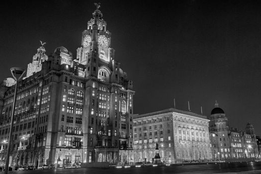 Liverpool Waterfront Buildings at Night by SteRawlinson