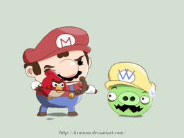 Mario with Angry Bird by Kymoon