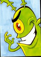 Another Plankton sketch card by PlummyPress