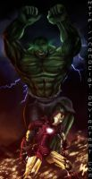 IRON MAN vs. HULK by NanoCigT