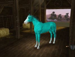 Sims3 Pets Creations BLUE HORSE by Senwolf10