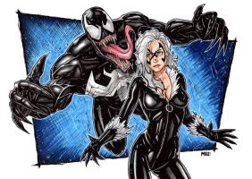 Black Cat and Venom by inARTia