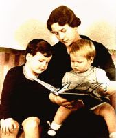 Reading for her son by Linnea-Rose
