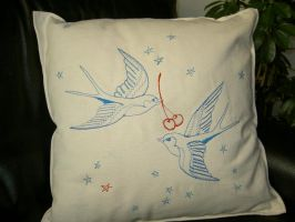 Tattoo Swallow Cushion by sacredstitches